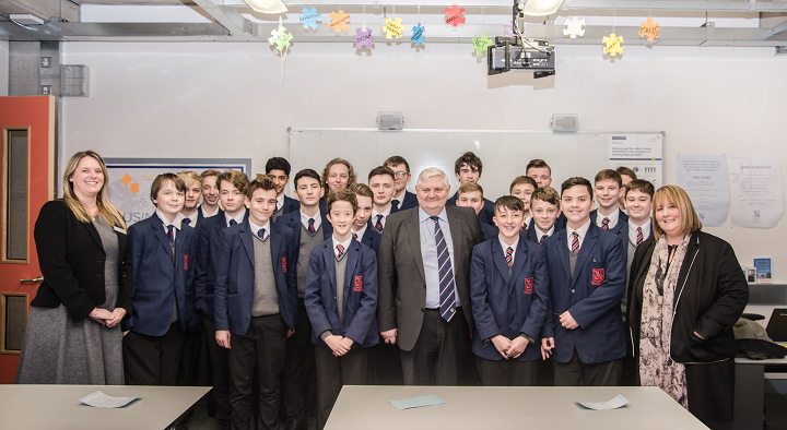Lord Goddard with Wellacre Principal Miss Wicks, students and Teacher Mrs Irwin 2 crop.png