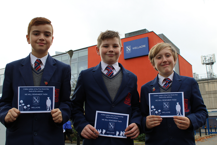 Wellacre students Ethan, Sam and Charlie deliver Remembrance postcards 3 crop.png